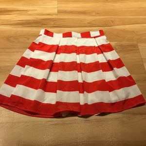 Everly Red and White Striped Skirt